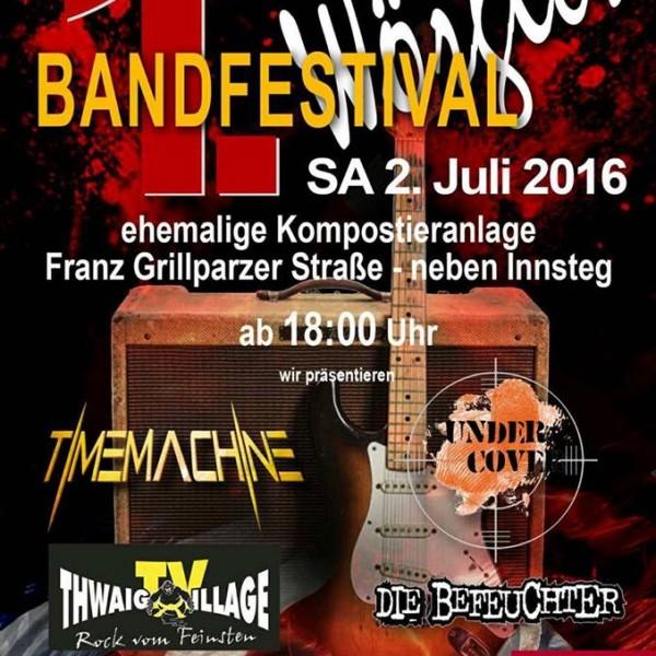 Plakat 1. Wörgler Bandfestival am 2.7.2016 am Gelände der ehemaligen Kompostieranlage.