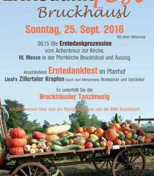 Erntedankfest Bruckhäusl am 25.9.2016. Plakat: BMK Bruckhäusl