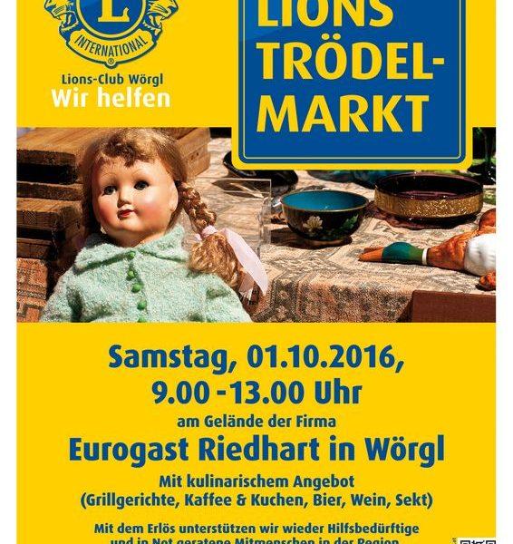 Der Lions Club Wörgl lädt am 1.10.2016 wieder zum traditionellen Trödelmarkt. Foto: Lions Club Wörgl