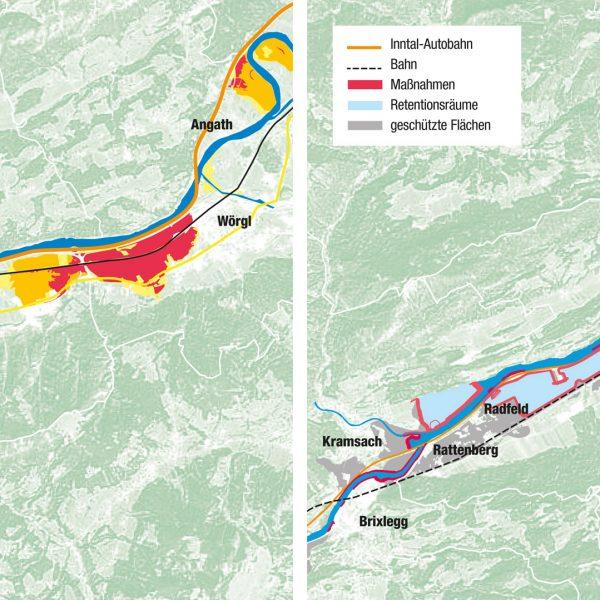 Von der Gefahrenzone zum Hochwasserschutz: 2.200 Gebäude und 160 Hektar derzeit als Gefahrenzonen ausgewiesene Flächen im Unteren Unterinntal werden hochwassersicher. Die Grobplanung dafür liegt vor. © Land Tirol