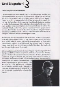 Christian Spitzenstaetters Biografie aus dem Programmheft. Quelle: KOMP.ART