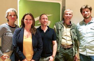 Das Grüne Team für die Landtagswahl - vlnr: Evelyn Huber, Nicole Schreyer, Georg Kaltschmid, Andreas Falschlunger, Thimo Fiesel. Foto: GRÜNE