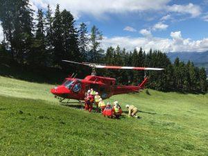 Rettungseinsätze aus der Luft wurden in Bad Häring geprobt. Foto: Samariterbund Tirol