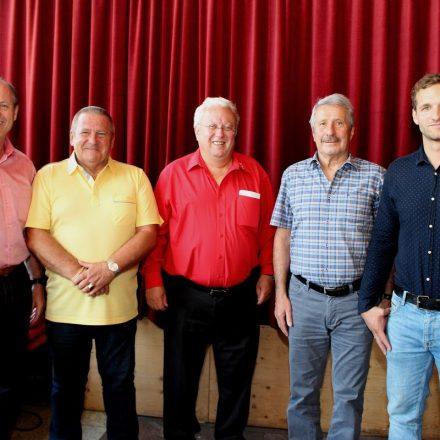 V.l. Günter Mayr, Heinz Hahndl, Rudolf Srba, Helmut Pangrazzi, Florian Guggenbichler. Foto: Wilhelm Maier