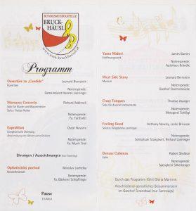 Programm des Frühjahrskonzertes der BMK Bruckhäusl.