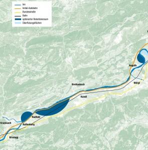 Retentionsräume im Unterinntal - Abbildung Land Tirol - November 2015