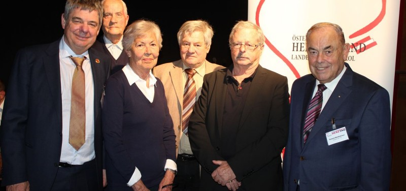 Tiroler Herztag in Wörgl - v.l. Dr. Gerald Bode, Ludwig Kögl, Anna Zimmermann, Helmut Rieder, Josef Hager und Roland Weißsteiner