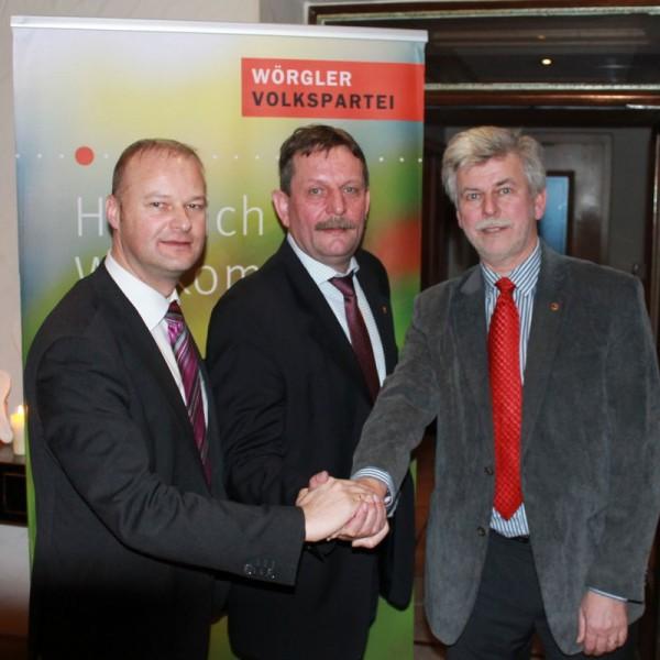 Mag. Johannes Puchleitner, Dr. Andreas Taxacher und Dr. Daniel Wibmer setzen sich für Wörgl gemeinsame Ziele (von links nach rechts, Foto: Tiroler Volkspartei