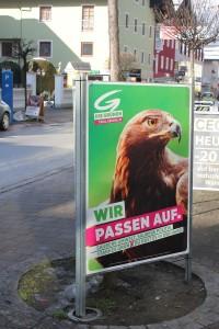 Die Grünen waren die ersten, die Plakataufsteller im Stadtgebiet anbrachten.
