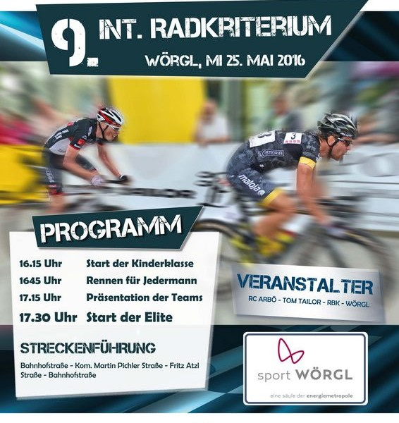 Plakat Internationales Radkriterium 2016 in Wörgl.