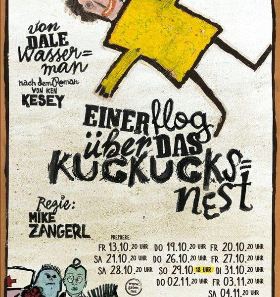 """Plakat-Entwurf """"Einer flog übers Kuckucksnest"""" von Alex Mey. Foto: Gaststubenbühne Wörgl"""