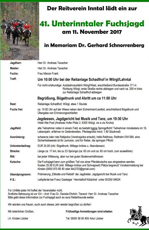Einladung zur 41. Unterinntaler Fuchsjagd.