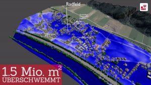 Ohne Schutzmaßnahmen werden bei einem so genannten Jahrhunderthochwasser (HQ 100) allein in Radfeld 1,5 Millionen Quadratmeter überschwemmt. © Land Tirol