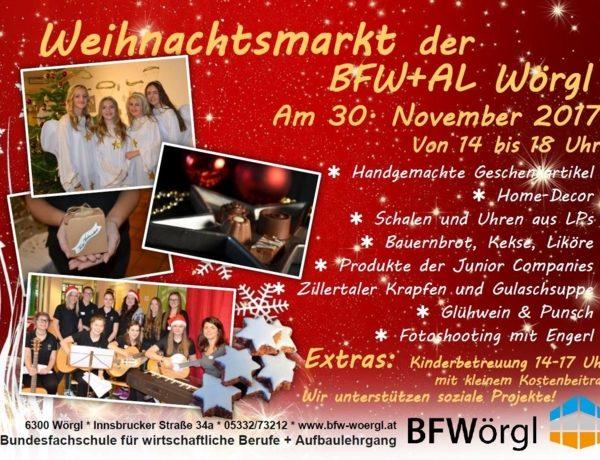 Die Bundesfachschule mit Aufbaulehrgang in Wörgl lädt am 30. November 2017 zum Wintermarkt.