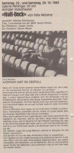 Beitrag in KULTURLEBEN - Die Zeitung für den Wörgler Herbst 1983, herausgegeben von der Stadtgemeinde Wörgl.