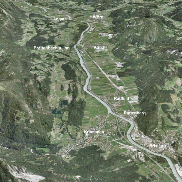 Die Gemeinden des Planungsgebietes für den Wasserverband Unteres Inntal. Foto: Land Tirol