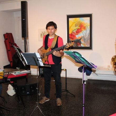 Jazz-Konzert zur Vernissage – v.l. Florian Reider, Peter Pitterl und Sepp Rangger. Foto: Veronika Spielbichler