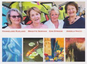 """Vier """"Powerfrauen"""" laden zur Gemeinschaftsausstellung in der Galerie am Polylog. Foto: Rueland, Skrivan, Striede, Nacci"""