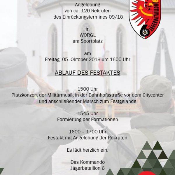 Einladung zur Angelobung in Wörgl. Foto: Bundesheer