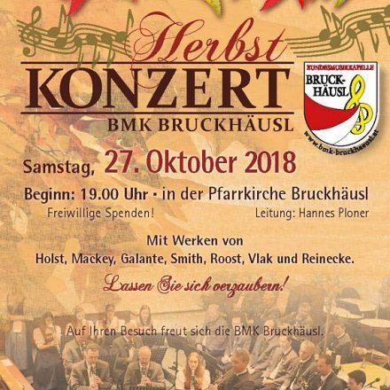 Die BMK Bruckhäusl lädt am 27. Oktober 2018 zum Herbstkonzert. Plakat: Zillerdruck