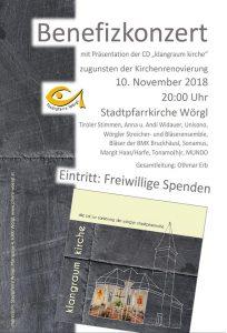 Benefizkonzert klangraum kirche in Wörgl am 10.11.2018.