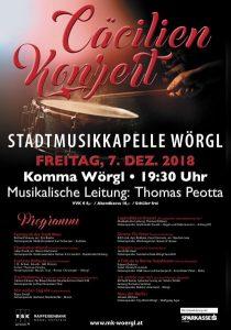 Einladung zum Cäcilienkonzert. Grafik: Stadtmusikkapelle Wörgl