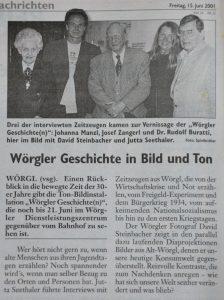Zeitzeugen berichteten 2001 auch vom Wörgler Freigeld - die Wörgler und Kufsteiner Rundschau berichtete.