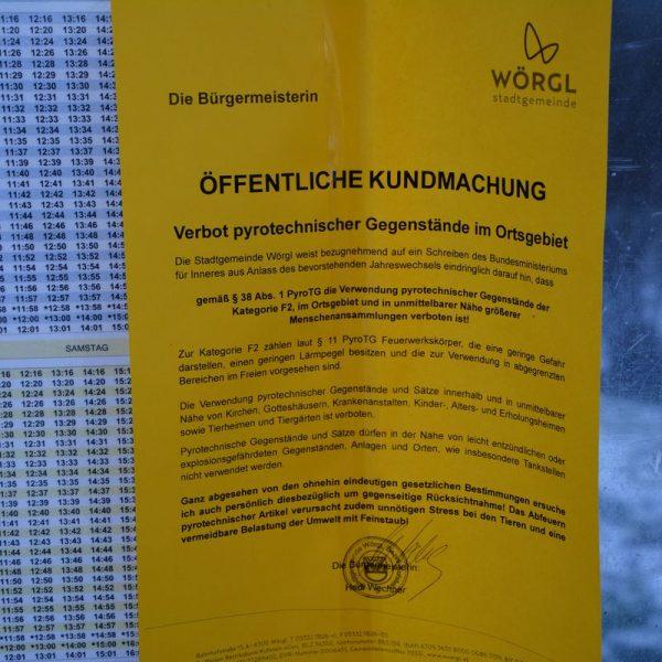 Kundmachung Feuerwerks-Verbot in Wörgl 2018. Foto: Spielbichler