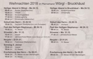 Pfarrbrief Wörgl Bruckhäusl Weihnachten 2018.
