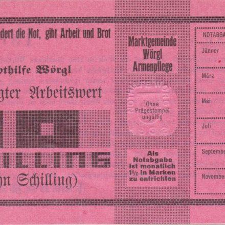 10 Schilling Arbeitsbestätigung - Wörgler Freigeld. Foto: Unterguggenberger Institut