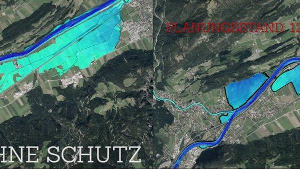 Diese Grafik zeigt, welche Flächen ohne und mit Hochwasserschutz von Überflutungen betroffen sind. Foto: Land Tirol