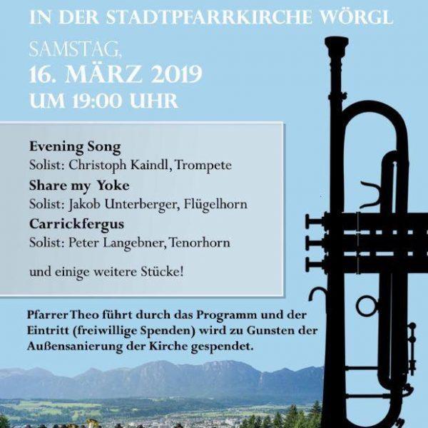 Benefizkonzert der Stadtmusikkapelle Wörgl am 16.3.2019. Grafik: Stadtmusikkapelle Wörgl