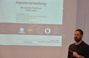 Heinz J. Hafner bei der Vorstellung von Seratio beim CryptoCircle am 20.2.2019. Foto: Veronika Spielbichler