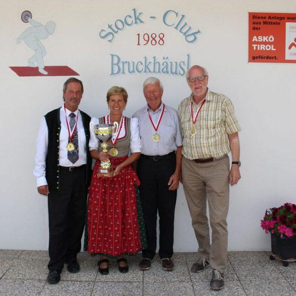 Eines der siegreichen Teams: die PVÖ Pensionisten mit Johannes Lanner, Anni Bichler, Herbert Bichler und Franz Gaun. Foto: Wilhelm Maier