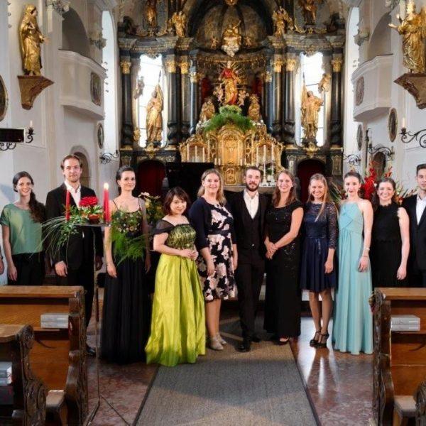 """""""Rising Stars"""" der Meisterklasse von Karlheinz Hanser treten am 8. August 2019 in der Pfarrkirche Kirchbichl auf. Foto: Academia Vocalis/Dabernig"""