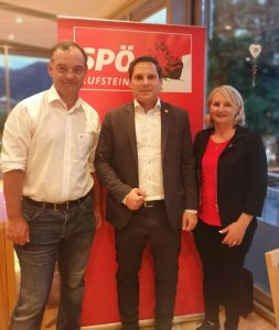 Dr. Stephan Bertel, FSG Tirol-Vorsitzender (Listenplatz 3), NR Christian Kovacevic (Listenplatz 1) und LA Claudia Hagsteiner (Listenplatz 2). Foto: Edda Celik