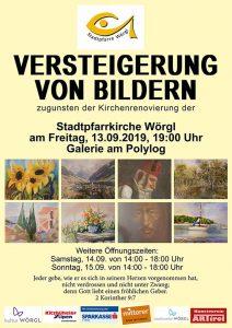 Bilderversteigerung in Wörgl zugunsten der Kirchenrenovierung. Foto: Kunstverein ARTirol