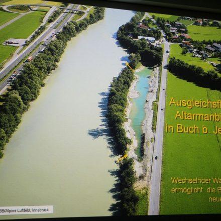 Aus dem Diavortrag von Dr. Werner Schwarz: Die Innaufweitung in Buch bei Jenbach. Foto: ÖBB/Alpine Luftbild, Innsbruck.