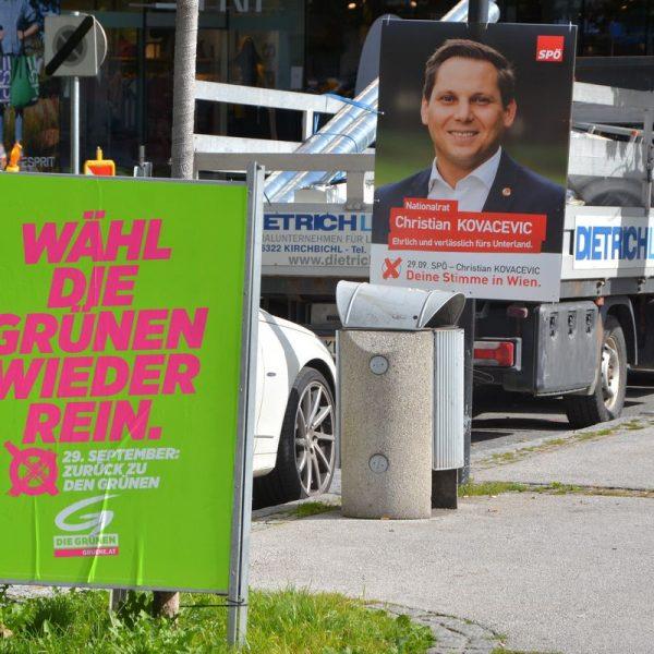 Nationalratswahl 2019 - Wahlwerbung in Wörgl. Foto: Spielbichler