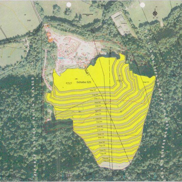 Plan-Darstellung der geplanten Steinbrucherweiterung der Mineral Abbau GmbH, die vom Gemeinderat abgelehnt wird. Grafik: Friedl ZT GmbH