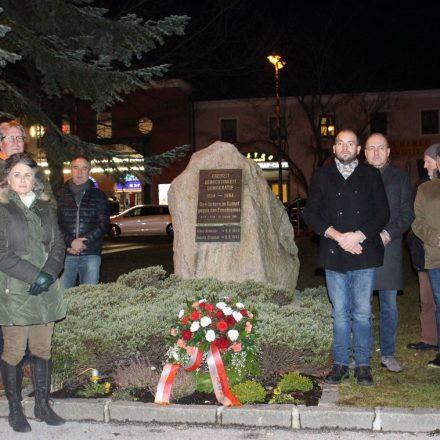 Gedenkfeier der Wörgler Sozialdemokraten für die Opfer des Faschismus am 12.2.2020. Foto: Wilhelm Maier