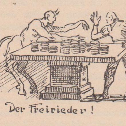 Der Tiroler Maler Anton Kirchmayr fertigte zu den Sagen Zeichnungen an - diese zum Freirieder. Quelle: Wörgler Heimatschriftchen Band V