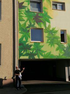 Fassadenbemalung statt wirklicher Fassadenbegrünung - das kritisiert Wörgls Grün-Gemeinderat Richard Götz. Foto: Richard Götz