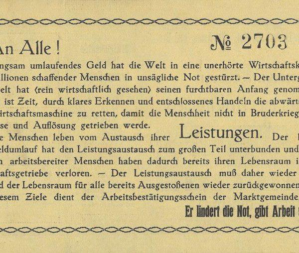 Rückseite der Wörgler Arbeitswertscheine, die als Freigeld 1932/33 in Umlauf waren. Foto: Unterguggenberger Institut