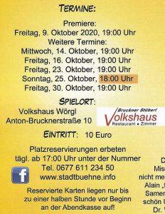Aufguss - Stadtbühne Wörgl spielt im Oktober 2020 Boulevard-Komödie. Foto: Wilhelm Maier