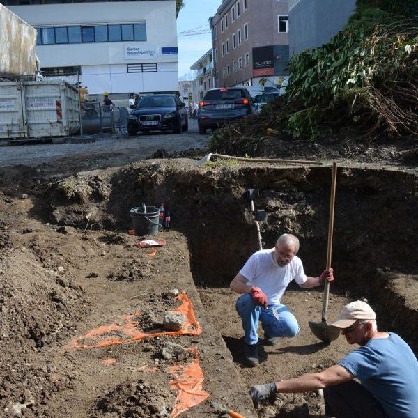 Archäologische Grabung Bahnhofstraße Wörgl September 2020. Foto: Veronika Spielbichler