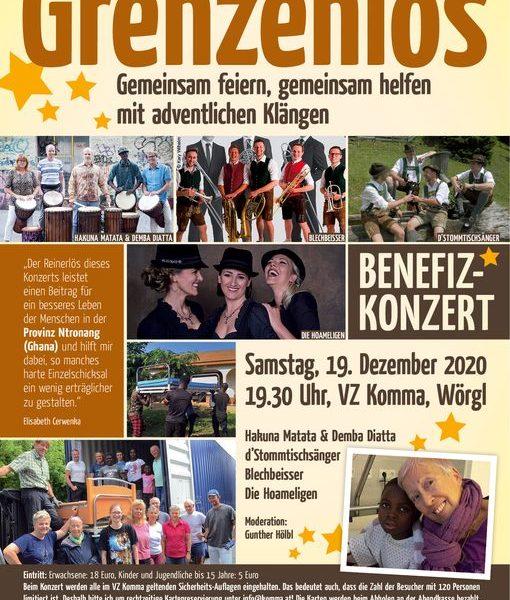 Plakat Grenzenlos helfen Benefizkonzert 2020.