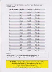 Zuteilung der Testorte beim Corona-Massentest von 4.-6.12.2020 in Wörgl.
