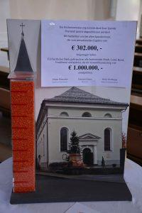 Spendenergebnis Kirchenrenovierung Wörgl Dezember 2020. Foto: Veronika Spielbichler