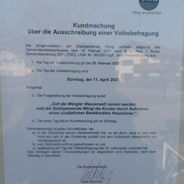Ausschreibung der WAVE-Volksbefragung. Foto: Spielbichler